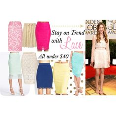 """Lace Skirts Under $40"" by beforetheclockstrikesmidnight on Polyvore"