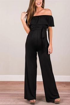Maternity One-Shoulder Lace-Up Wide-Legged Jumpsuit – blinglikes Maternity Jumpsuit, Jumpsuit Outfit, Maternity Tops, Maternity Dresses, Summer Maternity Fashion, Off Shoulder Jumpsuit, 2020 Fashion Trends, Wide Leg Pants, Cute Outfits