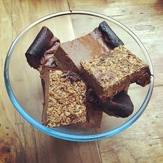 // Re-post from @musclemousseuk // Free recipe time! Muscle Mousse breakfast bars courtesy of @zosia.fish - you will LOVE these! Add 5 scoops of chocolate Muscle Mousse to 1 litre natural yogurt and 4tbsp of raw cacao - mix to a thick paste. For the pastry mix approx 1 mug full of your choice of nuts seeds and porridge oats with 4tbsp of maple syrup and 1 tbsp coconut oil in a food processor and blitz until it makes a rough but combined paste.  Spread the nut paste into a glass oven-proof…