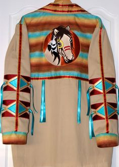 Desert Warrior Horse, Native American Style Ribbon Shirt. $200.00, via Etsy.