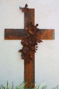 Metal Cross Wall Art Large with Hibiscus Flowers and Butterfly. $200.00, via Etsy.
