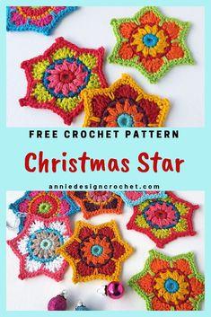 These Christmas Crochet Stars are not traditional perhaps, but their bold beauti. Crochet Star Patterns, Crochet Stars, Christmas Crochet Patterns, Holiday Crochet, Granny Square Crochet Pattern, Christmas Knitting, Flower Patterns, Mandala Au Crochet, Crochet Motifs