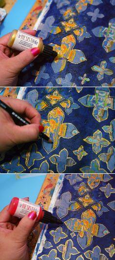 Step-by-step Mixed Media tutorial by Gwen Lafleur using StencilGirl stencils.