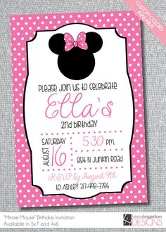 Minnie Mouse-Birthday Invitation- Custom Colors on Etsy, $10.00