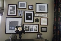 Beautiful photo arrangements on wall using black frames with white matting and b&w photos