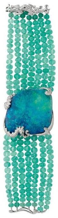 Stunning! Opal, diamond, and emerald bead bracelet, by Cartier. Via Diamonds in the Library.