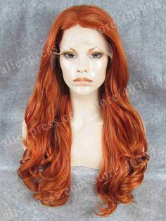"(53.00$)  Know more  - ""Stunning 24"""" Long Copper Red Fashion Synthetic Lace Front Wig Drag Queen Wig"""