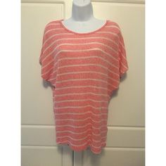 """F21 Dolman Sleeve Coral Striped Top Relaxed dolman sleeves on a coral and cream striped top. Length is 25.5"""". Fabric is 54% rayon, 41% polyester, 5% spandex. Forever 21 Tops"""