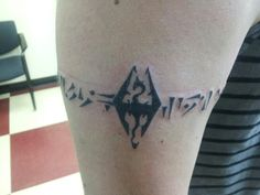 "Skyrim tattoo - ""the power of truth"" being the nerd I am... I love this! I'd wanna add some color but I may have to get a variant of this :D"