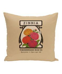Taupe 'Zinnia' Throw Pillow