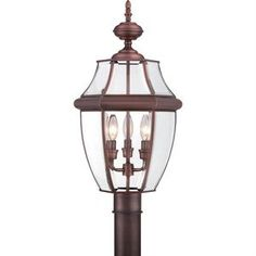 Quoizel Newbury 3 Light Tall Post Lantern with Clear Glass Aged Copper Outdoor Lighting Post Lights Single Head Post Lights Outdoor Post Lights, Outdoor Lighting, Outdoor Lantern, Aged Copper, Antique Copper, Copper Glass, Lantern Post, Outdoor Light Fixtures, Candelabra Bulbs