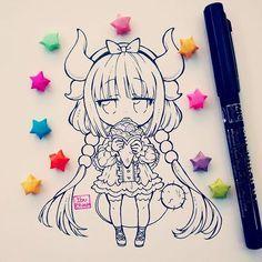 WIP Kanna of anime kobayashi san chi no maid dragon.  Ella es adorable, me encanta la serie; el opening, los personajes y la relación de Kobayashi y tohru se me hace linda (y taaaan familiar) La tendré pintada para mañana (dibujo que tenía hace rato y recién lo subo :3) #kobayashisanchinomaiddragon #kanna #anime #chibi #kawaii #moe #cute #adorable #kawaiifood #japan #stars #wip #ink #blackandwhite #instaanime #instaart #instadraw