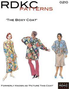 The Boxy Coat Pattern Coat Patterns, Clothing Patterns, Dress Patterns, Art Clothing, Sewing Patterns, Clothing Ideas, Quilted Clothes, Sewing Clothes, Quilted Coats
