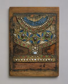 Mosaic Plaque Desiged By Louis Comfort Tiffany - Glass, Wood, Leather, Moonstones And Opal - American   c. 1890-1910