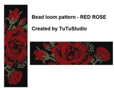 Bead loom pattern RED BUTTERFLY by TuTuStudio on Etsy