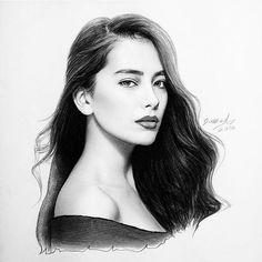 Beautiful portrait of Neslihan Atagül by jawadalghezi_art. Portrait Sketches, Pencil Portrait, Portrait Art, Art Sketches, Turkish Women Beautiful, Turkish Beauty, Pop Art Drawing, Pencil Art Drawings, Art Alevel
