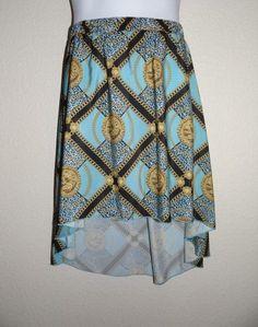 Kardashian Kollection Women's Chain Print Blue Hi-Low Skirt $59 Size: XS & L #KardashianKollection #HiLowSkirt
