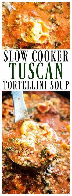 This hearty SLOW COOKER TUSCAN TORTELLINI SOUP will be a family favorite. Delicious & easy to make, you're simply going to love how easy it comes together. #TortelliniTuesday #pasta #slowcookerrecipes #slowcooker #slowcookersoups #soups #tortellini