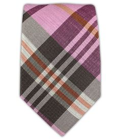 Crystal Wave Plaid - Pink/Chocolate (Linen Skinny) | Ties, Bow Ties, and Pocket Squares | The Tie Bar