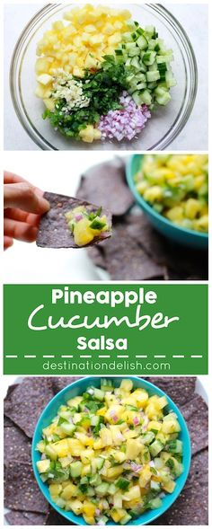 Pineapple Cucumber Salsa | Destination Delish - The perfect summer salsa featuring a sweet and juicy kick from the fresh pineapple and a refreshing crunch from the cucumber