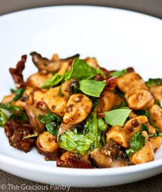 This Clean Eating Sweet Potato Gnocchi With Mushrooms And Sun Dried Tomatoes is so decadent, you'll never believe it's actually good for you!