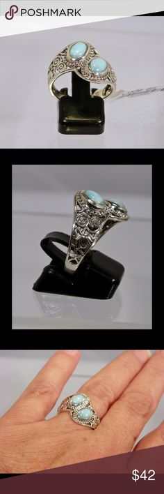 Beautiful Sterling Silver  Dominican Larimar Ring Sterling Silver Dominican Larimar Ring. Sizes  6, 7 Jewelry Rings
