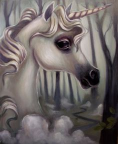ON SALE Fantasy art oil painting of a Unicorn on stretched canvas by Elizabeth Caffey. One of a kind original signed art.. $400.00, via Etsy.