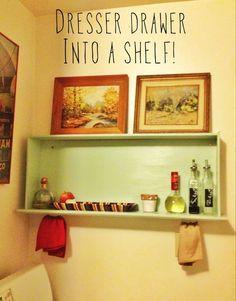 old drawer into bookshelf
