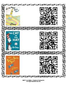 New Dr. Seuss QR Codes! Links to Safe Share video presentations of 18 Dr. Seuss books!