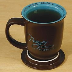 Have one to sell? Sell it yourself  Prayer Changes Everything Coffee Java Religious Ceramic Mug Cup & Coaster $19.95