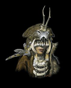 Prehistoric shaman woman, recreated from archealogical finds in Germany