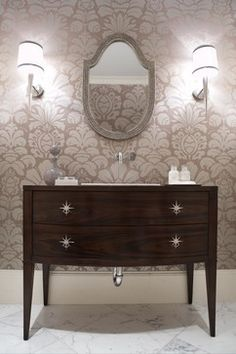 modern powder room, wallpaper, custom vanity with starburst pulls, beautiful mirror Modern Craftsman, Modern Bungalow, Craftsman Bathroom, Craftsman Homes, Powder Room Wallpaper, Of Wallpaper, Neutral Wallpaper, Bathroom Wallpaper, Wallpaper Designs
