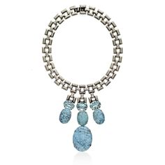The SILVER, LIGHT AZURE AND TURQUORISE 3 DROP NECKLACE from Janis Savitt is silver plated, and made with light azure Swarovski crystals and turquoise stones.  Unique and fashionable. __________________________ https://www.zindigo.com/sharer.php/0/0/3729/8526