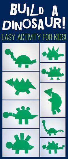 Build a dinosaur shape game. Simple preschool activity for dinosaur fans!