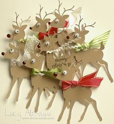 Rudolph Gift Tags—using Silhouette Baby Deer cut file @ 4 tall. Christmas Gift Wrapping, All Things Christmas, Handmade Christmas, Christmas Holidays, Christmas Crafts, Christmas Decorations, Christmas Favors, Handmade Gift Tags, Craft Gifts