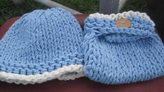 Baby Blue Knit Diaper Cover and Hat Set
