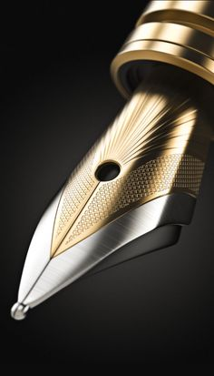 3d Golden Ink Pen by Wojciech Portnicki, via Behance