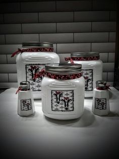 kitchen tools Rustic Red & White Kitchen Canister Set with Salt and Pepper Shakers/Vinyl Cow Labels/Farmhouse/Country/Vintage/Retro/Cottage Style/Gift Cow Kitchen Decor, Cow Decor, Farmhouse Kitchen Decor, Modern Farmhouse, Kitchen Tools, Farmhouse Style, Red And White Kitchen, Red Kitchen, Kitchen Retro