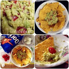 Today I went to my friend\'s place and made guacamole! I used one avocado, 5 cherry tomatoes, a dash of lemon juice, a dash of Tabasco sauce, a dash of pepper and a dash of salt. Couldn\'t find plain chips so I bought Doritos. Had the chips with guacamole, along with more cherry tomatoes and a longan drink. We mopped the whole bowl of guacamole clean!! Yumz~ ^^v