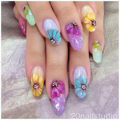 Instagram photo by @20nailstudio via ink361.com Nail Stuff, Nail Arts, Flower Power, Fingers, Nail Art Designs, My Nails, Floral Design, Nail Polish, Make Up