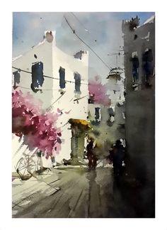 Orhan Gurel Watercolor City, Watercolor Sketch, Watercolor Artists, Watercolor Techniques, Watercolor Landscape, Watercolour Painting, Painting & Drawing, Landscape Paintings, Watercolours