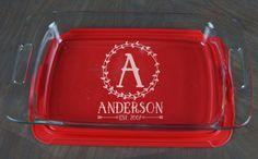 Personalized Casserole Dish Pyrex Baking Dish by BoldBakingWare