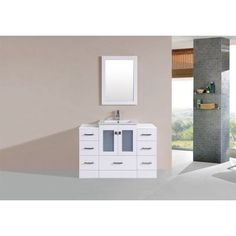 48 inch Hermosa White Single Modern Bathroom Vanity with 2 Side Cabinets and Integrated Sink and Mirror