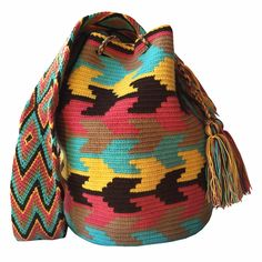 $90.00 Retail Price LARGE Mochila Wayuu Bag | RETAIL + WHOLESALE | Handmade and Fair Trade Wayuu Mochila Bags LOMBIA & CO. | www.LombiaAndCo.com Tapestry Crochet Patterns, Tapestry Bag, Net Bag, Tribal Patterns, Handmade Handbags, Boho Gypsy, Needlework, Retail Price, Purses