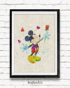 Aquarelle Art Print de souris de Mickey Disney par NeighborArts