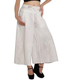 Linen fabric Ladies woman harem pant trousers / salwar/ palazzo chikankari hand embroidered for / ladies / girls white color Palazzo With Kurti, Leotard Fashion, Fashion Today, India Fashion, Latest Dress, Dress Patterns, Trousers, Harem Pants, Fashion Outfits