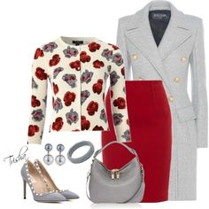 Red & Grey by pkoff on Polyvore featuring Hobbs Invitation, Balmain, Paule Ka, Valentino, Burberry and Kenneth Jay Lane