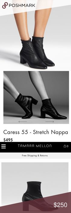 TAMARA MELLON CARESS 55 STRECH NAPPA BOOTIE These are brand new I just got them off the website, bummed they don't look good on me. Super comfortable and the leather is silky smooth! No scratches, I wore them out for one night. Retails for $495, I love these boots so much! NAPPA leather, leather lining and sole they are handcrafted in Italy. Tamara Mellon Shoes Ankle Boots & Booties