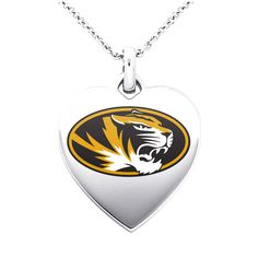 """Missouri Tigers Women's 18"""" Sterling Silver Necklace with 1"""" Heart Pendant - $51.99"""
