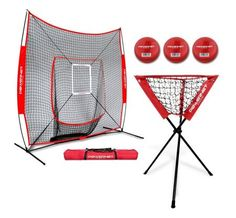 PowerNet DLX Baseball Softball Practice Net Bundle w/Strike Zone, Ball Caddy + 3 Training Balls Softball Drills, Baseball Pitching, Pro Baseball, Baseball Equipment, Better Baseball, Baseball Players, Softball Quotes, Fit Team